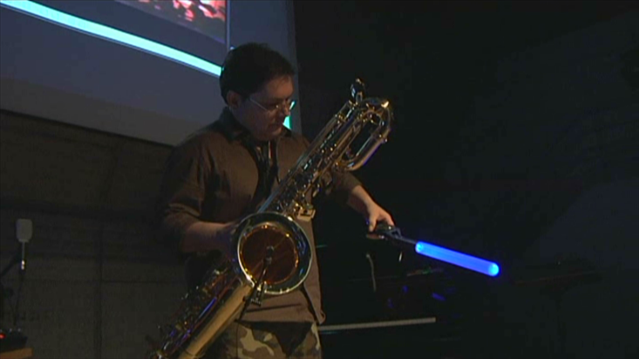 Wiimote leads music and video behind the sax solo  (MaxMSP) by Andreas Mourtzoukos